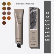 PACK COLOR DAVINES: 1 TUBO MASK WITH VIBRACHROM SERIE MARRONES CALIDOS 100 ML.  (OXIDANTES MONODOSIS 20VOL, BOL, PALETINA Y GUANTES DE REGALO)